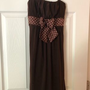 Women's brown formal dress with pink polka dots